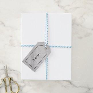 Étiquette de marbre blanche et grise de cadeau