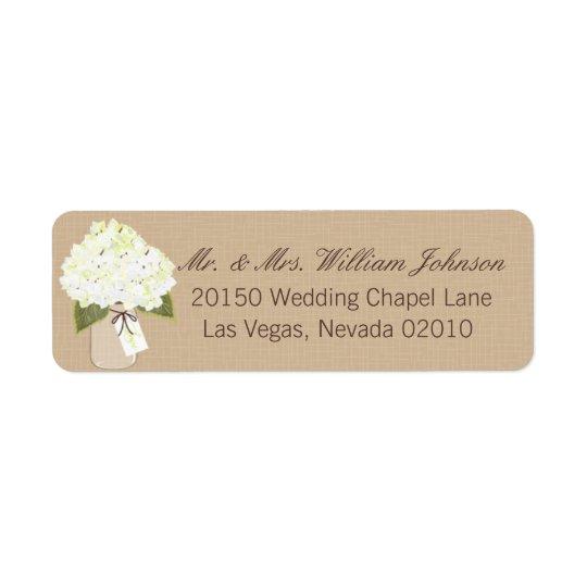 Étiquette de mariage de bouquet d'hortensia