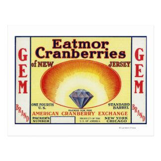 Étiquette de marque de canneberges d'Eatmor de Carte Postale