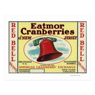 Étiquette de marque rouge de canneberges de Bell Cartes Postales