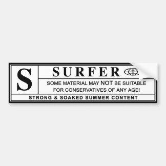 étiquette de mise en garde de surfer autocollant de voiture