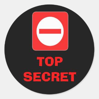 Étiquette de mise en garde extrêmement secrète sticker rond
