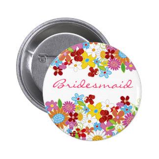 Étiquette de nom de mariage de DEMOISELLE Badge Rond 5 Cm