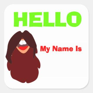 Sticker Carré Étiquette de nom de partie de barbe de moustache
