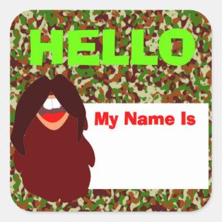 Sticker Carré Étiquette de nom de visage de barbe