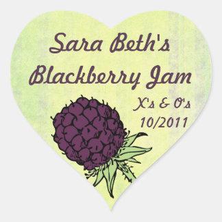 Étiquette de pot de confiture de Blackberry Sticker Cœur