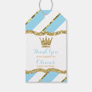 Étiquette de prince Merci, bleu, scintillement