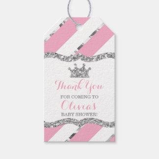 Étiquette de princesse Merci, rose, argent,