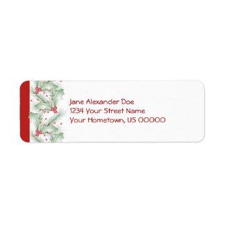 Étiquette de retour de Noël de branches de pin de