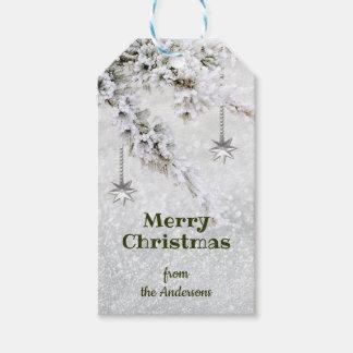 Étiquette de scintillement de cadeau de Noël de