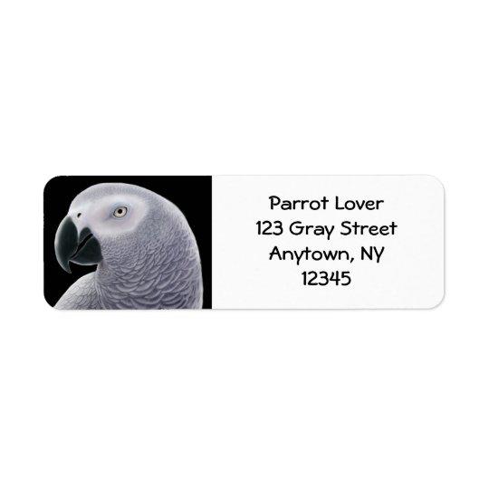 Étiquette de tête de perroquet de gris africain