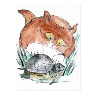 Étiquette de tortue - le chaton indique que vous carte postale