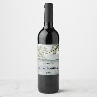 Étiquette de vin blanc de lac et de saule