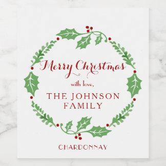 Étiquette de vin de cadeau de Noël avec le nom de