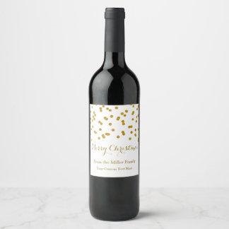 Étiquette de vin de Joyeux Noël de confettis d'or