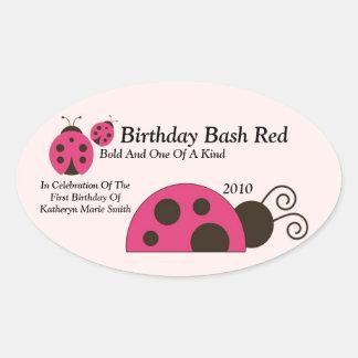 Étiquette de vin de Labdybug Sticker Ovale