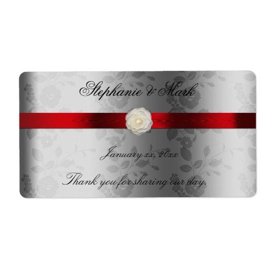 Étiquette de vin de mariage avec le ruban rouge