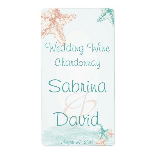 Étiquette de vin de mariage de plage de brise