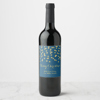 Étiquette de vin de Noël de bleu marine de