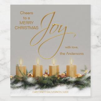 Étiquette de vin de Noël personnalisé par bougies
