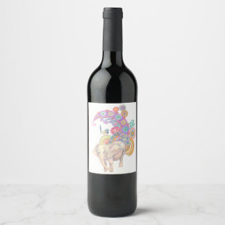 étiquette de vin d'éléphant et d'oiseau