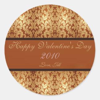 Étiquette de vin d'or de heureuse Sainte-Valentin Sticker Rond