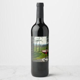 Étiquette de vin en verre de vin et de conception