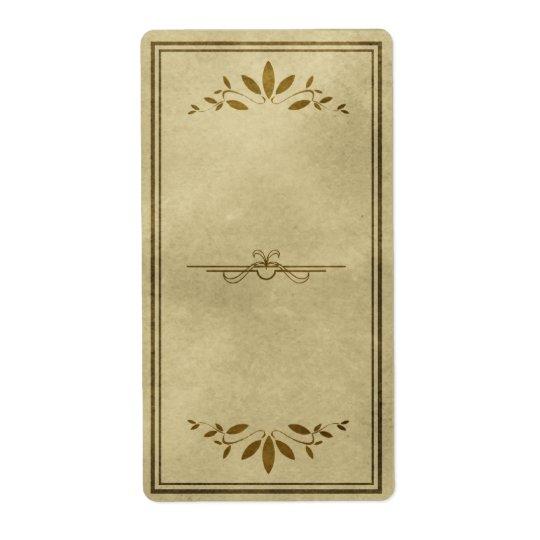 Étiquette décoratif d'apothicaire de feuille