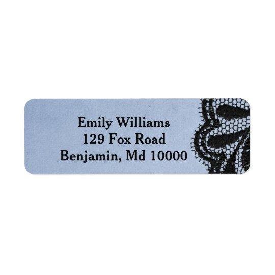 Étiquette Dentelle élégante bleue et noire de Faux