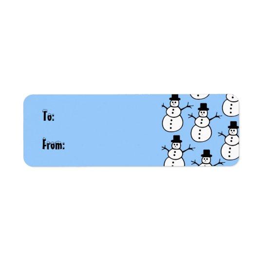 Étiquette d'étiquette de cadeau de bonhommes de