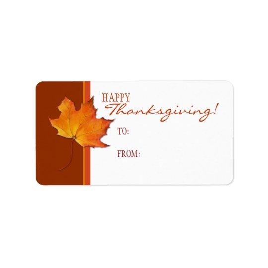 Étiquette d'étiquette de cadeau de thanksgiving de
