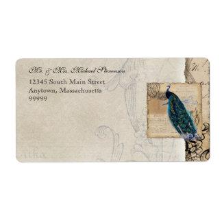 Étiquette d'expédition assorti de paon antique -