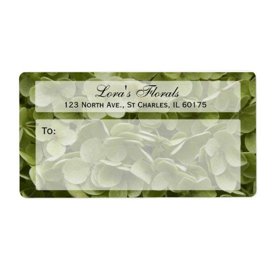 Étiquette d'expédition floral d'hortensia