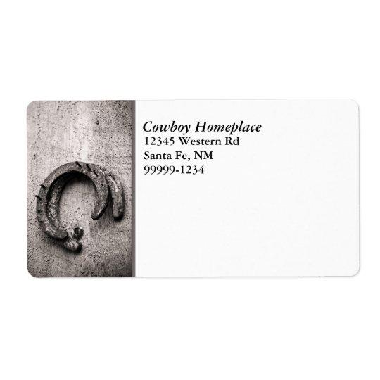 Étiquette d'expédition vintage en fer à cheval de
