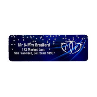 Étiquette Diamants/coeurs de bleu royal épousant l'adresse