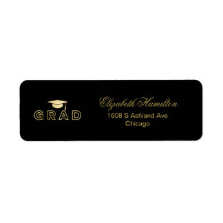 Étiquette Diplômé élégant d'or d'aluminium de Faux de