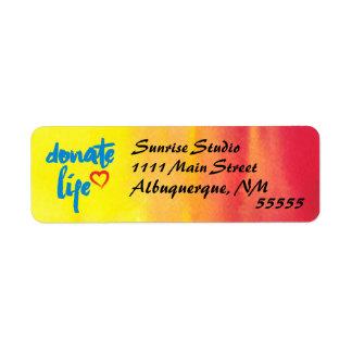 Étiquette Donnez la vie avec l'aquarelle rouge et jaune