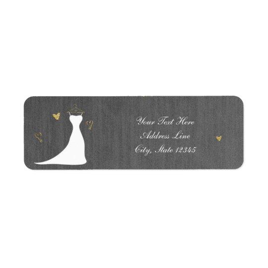 Étiquette Douche nuptiale moderne de coeurs de robe et d'or