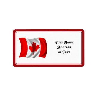 Étiquette Drapeau canadien de ondulation