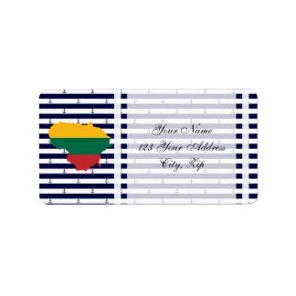 Étiquette Drapeau/carte de la Lithuanie sur l'arrière - plan