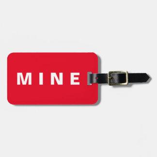 """Étiquette drôle de bagage avec la """"mine"""" écrite étiquette à bagage"""