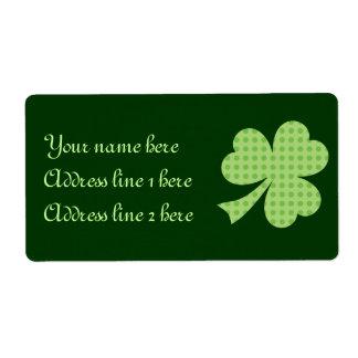 Étiquette du jour de St Patrick de pois de