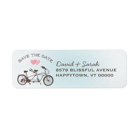 Étiquette Économies tandem bleues de bicyclette l'étiquette