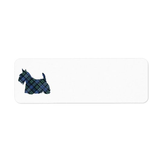 Étiquette Écossais noir Terrier de tartan de montre