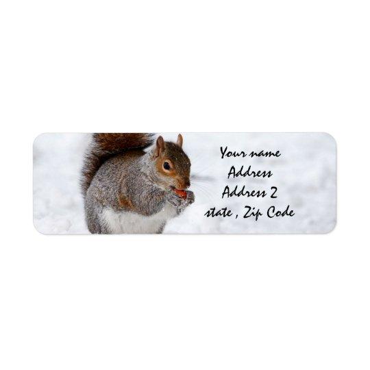 Étiquette Écureuil dans la neige