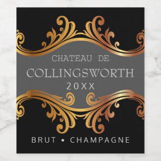 Étiquette élégant de bouteille de Champagne de
