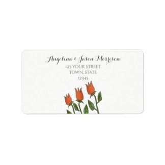 Étiquette Élégant pur blanc d'aquarelle de tulipes florales