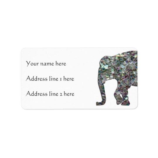 Étiquette Éléphant argenté coloré scintillant de mosaïque de