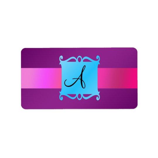Étiquette Emblème pourpre de fantaisie de monogramme