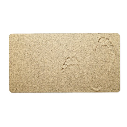 Étiquette Empreintes de pas sur l'arrière - plan de plage sa
